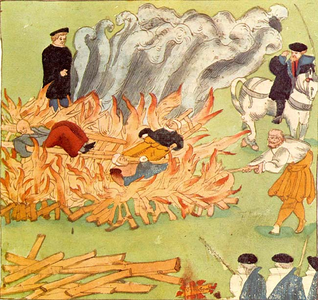 Burning of three witches in Baden, Switzerland (1585), by Johann Jakob Wick.
